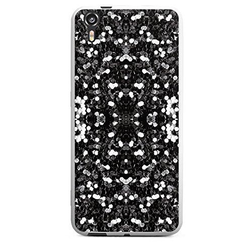 HTC Desire Eye Silikon Hülle Case Schutzhülle Glitzer Silber Muster