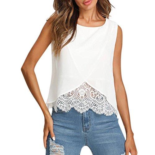 OYSOHE Damen Weiß SpitzeT-Shirt, Neueste Frauen Chiffon Spitze Weste Top Sleeveless beiläufige Tank Bluse Sommer Tops T-Shirt(Weiß,L)