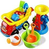 PowerLead Conjunto de juguete de playa Juego de arena de 19 piezas con herramientas y moldes de animales y rueda de arena doble y cubo y camión para niños