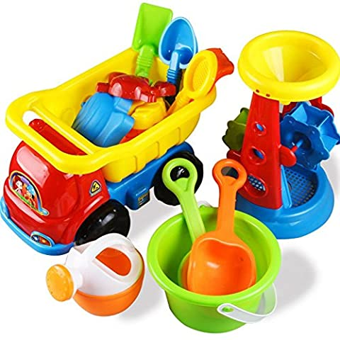 PowerLead Beach Toy Set 14 Pcs Sand Play Set With Tools & Animal Molds & Double Sand Wheel & Bucket & Truck for