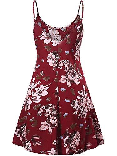 MAYOGO Kleid Damen Sommer Kurz Boho Blumen Minikleid Spagettiträger Rückenfrei Tunikakleid Weste Kleid Jersey Blusen Kleider Sommerkleider (Prinzessin Peach Plus Größe)