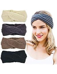 42e59a07caaf7f DRESHOW 4 Stück Damen Gestrickt Häkelarbeit Stirnband Schleife Design Winter  und Frühling Kopfband Haarband