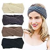 DRESHOW 4 Pack Crochet Turbante fascia per le donne Warm ingombranti all'uncinetto Headwrap