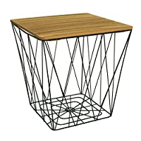 marymarygardens Square Topped Metal Wire Small Bedside, Occasional, Lamp Table Lift Off Lid