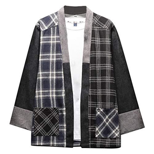 UJUNAOR T Shirt Uomo Loose Girocollo in Cotone e Lino Manica a 3/4 Tinta Unita/Stampa A Quadri Casual Moda Primavera-Estate 2019 Nuovo M,L,XL,2XL,3XL,4XL,5XL(XXXXX-Large,Nero-3)