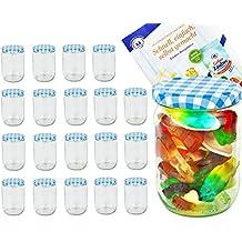 20er Set Rundglas 580 ml, mit passendem blau karierten Twist-Off-Deckel TO 82,Gurkenglas, Einmachglas, Einkochglas, Konservierungsglas, Schraubverschluss, Klarglas