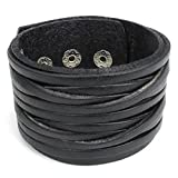 """Konov Jewellery Wide Genuine Leather Unisex Men's Bangle Cuff Bracelet, Punk Rock Style, Fits 7.5"""" to 9"""", Colour Black (with Gift Bag)"""