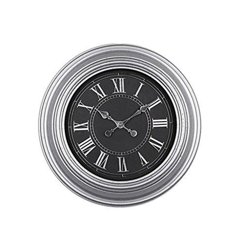Preisvergleich Produktbild PIO Wanduhr Europäischer Stil Retro Kunststoff Wohnzimmer Schlafzimmer Modern Nicht tickend Stille fegende Sekunden Dekoration Digital Uhr 20 Zoll