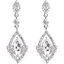 BiBeary mujer Cristal Art Deco Boda Dangle Pendientes claro tono plateado