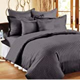 """Trance Home Linen 100% Cotton 210 Tc Queen Double Fitted Bedsheet 78"""" * 60"""" With 2 Pillow Covers (Steel Grey)"""
