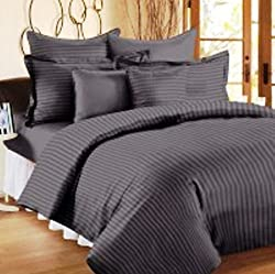 Trance Home Linen 100% Premium Cotton 300TC Self Satin Stripe Single Bed sheet with pillow covers (Dark Grey)