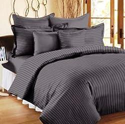 Trance Home Linen 100% Premium Cotton 300TC Self Satin Stripe Single Bed sheet with pillow covers (Dark Grey)