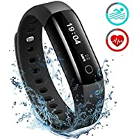 Fitness Tracker [ Updated Version ]Mpow IP68 Waterproof Heart Rate Tracker Smart Swimming Fitness Wristband Health Tracker Activity Tracker Pedometer with Running Mode for Android and iOS Smart Phones