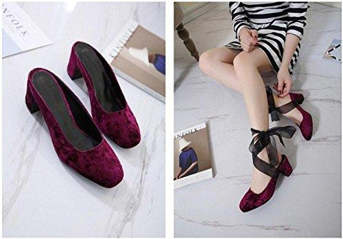 GLTER Donne Closed-Toe Pumps moda Comodo testa quadrata tacco basso del nastro sandali dei pistoni Mary Jane 35-40 UE Red