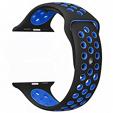 Kobwa Replacement Bracelet Pour iWatch Apple Watch Nike 38 Mm/42 mm , Silicone Bande Sport Iwatch Bracelet de Montre Bracelet de Rechange pour Apple Watch Series 2/Series 1