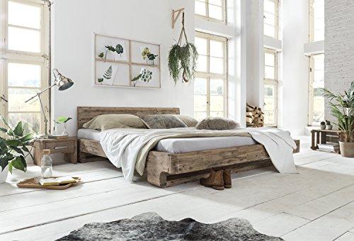 Woodkings® Bett 180x200 Mayfield Doppelbett Akazie weiß gebürstet Schlafzimmer Massivholz Design Doppelbett massive Naturmöbel Echtholzmöbel günstig