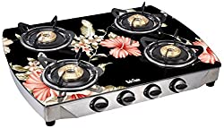 Rich Flame 4 Burner Curve Digital Elegant Gas Stove , Black