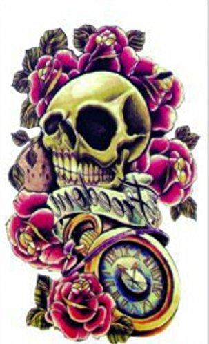 Grashine finalmente tatuaggi temporanei terribile teschio con rose rosse look like real tatuaggi temporanei