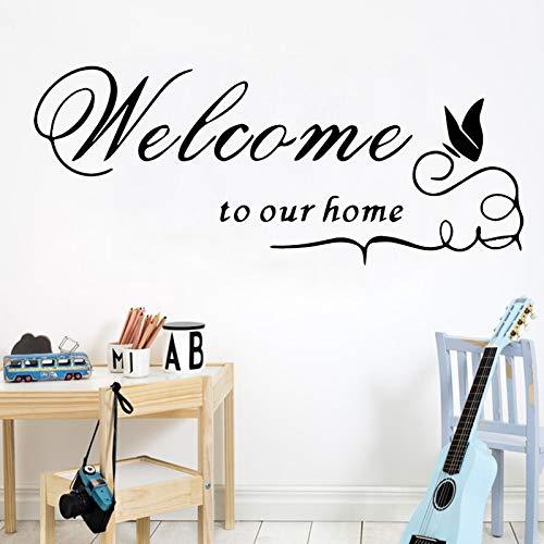 AiyoAiyo Willkommen Zu Unserem Haus DIY Wandaufkleber Selbstklebende Abnehmbare Kunst Wandtattoos für Wohnzimmer Hintergrund Decor Aufkleber 58x141 cm