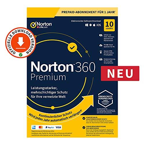 Norton 360 Premium 2020 | 10 Gerät | 1 Benutzer | 1 Jahr | PC/Mac | Aktivierungscode per Email