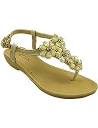3e34d25a610b9 Ladies Chix 287395 Flower Gem Stones Fashion Toe Post Slingback Summer Sandals  Shoes Size 3-