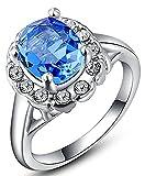 Vergoldet Damen Ringe ?sterreichische Kristall Blau Diamant Gr??e 54 (17.2) Wei? Gold Epinki