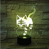 Luci d'umore Regali creativi per bambini Lampada da tavolo USB in acrilico con gatto 7 colori Lampada da scrivania cambiante Luci notturne a LED 3D Bedroon