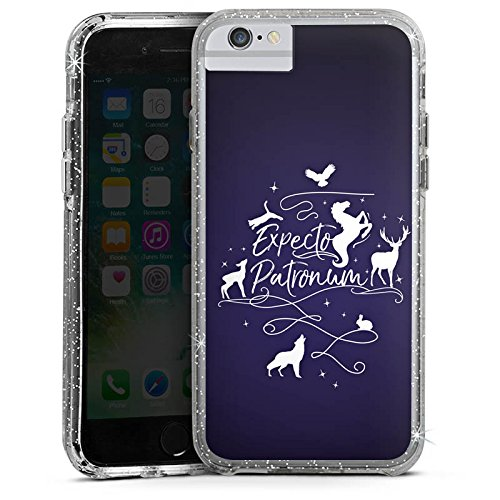 Apple iPhone 6 Bumper Hülle Bumper Case Glitzer Hülle Expecto Patronum Harry Potter Statement Bumper Case Glitzer silber