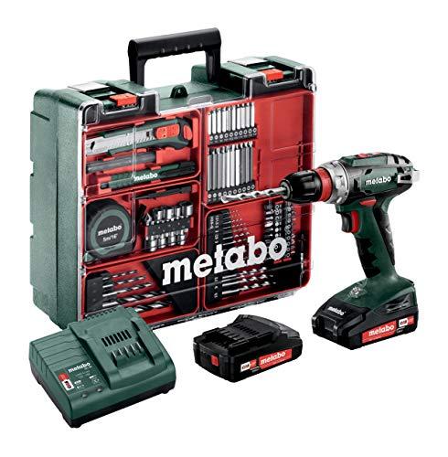 Metabo Akku-Bohrschrauber BS 18 Mobile Werkstatt Set (2x 2,0 Amperestunden Akku inkl. Ladegerät, 18 Volt, 2 Gang, Brushless, inkl. Zubehör-Koffer) 602217880