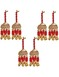 Lucky Jewellery Traditional Golden Red Color Gold Plated Kalira/kaleeray Combo Set Of 6 Pcs. For Women's And Girls