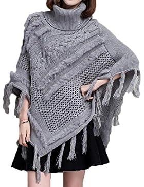 Suelta El Suéter De Cuello Alto Collar Hecho Punto Chaqueta De Chal De Punto De Manto