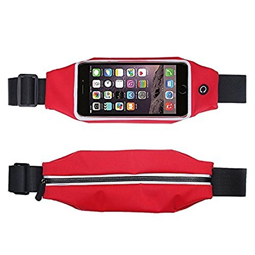 Advent Basics™ Adjustable waterproof Mobile Waist Pouch Bag Case Cover with Transparent Clear View Touch Screen with headphone jack slot Compatible With IPhone 7 | 6 | 6S | 5S | SE | 5C | 4S | 4 Samsung Galaxy S4 S5 Mini S6 Size 4.7 to 5.5 inch Phone (Red)  available at amazon for Rs.399