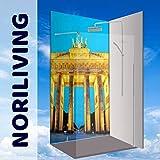 Original Noriliving Duschrückwand Rückwand Wandbild Bad-Rückwand - BERLIN Brandenburger Tor,Bad-Verkleidung, Fliesenersatz ohne FUGEN (Aluverbund, 1 Platte mit 90x200cm)