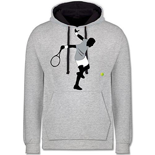 Tennis - Tennis Squash Spieler - Kontrast Hoodie Grau meliert/Dunkelblau