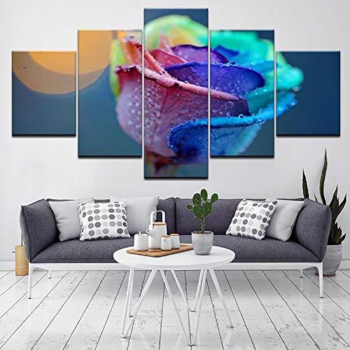 mmwin Fai da Te Diamond Wall Art Punto Croce 5 Pezzi Rose Flower Picture 5d Ricamo Handmade Full Square Drill Decorazione della casa