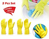 #10: Rubber Hand Gloves Reusable Washing Cleaning Kitchen Garden (2 Pairs) (color may vary) | gloves for kitchen cleaning | rubber hand gloves | rubber hand gloves for cleaning | gloves for cleaning | reusable gloves | garden gloves | hand gloves for kitchen washing |