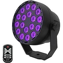 Luces Negras UV,Eleganted 7 Modos Ultravioleta Luces De Etapa,3Wx18 LEDs Sonido Activado
