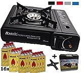 Portable cucina da campeggio 2,3KW gas elettrico con 16X cartucce di gas + Phoenix PH K01Fornello a gas della Croce 12x 12cm + Valigetta
