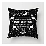 SHUCHANGLE (2pcs/Set) Weihnachtsdekoration Schwarz Leinen Hug Kissenbezug Schneeflocke Elk Bell Muster Sofa Kissenbezug