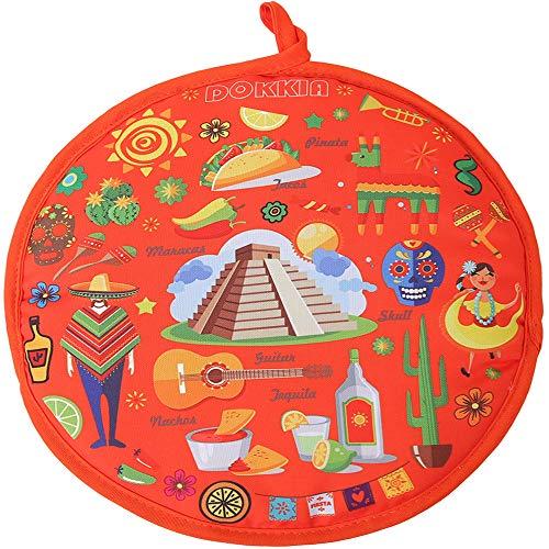 DOKKIA Tortilla Wärmer 30,5 cm isolierter Stoffbeutel - mikrowellengeeignet, um Lebensmittel bis zu einer Stunde warm zu halten Geschirr 12 Inch Fiesta Maracas Sombrero Serape Poncho Tortilla Keeper