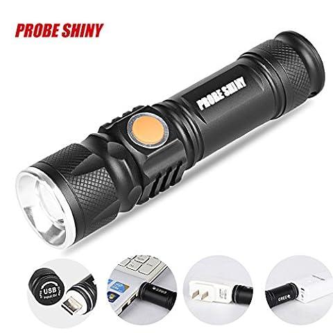 TopTen Fan-Motive LED Taktische Taschenlampe, 1000Lumen 3Modi Mini USB aufladbare Super helle zoombaren-Camping Licht