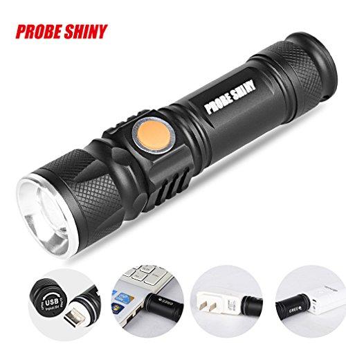 Taktische LED-Taschenlampe von TopTen, 1000 Lumen, 3 Leuchtmodi, Mini-USB, wiederaufladbar, superhell, zoombar -