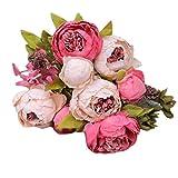 RYTEJFES Fleurs 1 Bouquet 8 Têtes Artificielle Pivoine Soie Fleur Feuille Maison Décoration De Noce Fleurs artificielles Haut de Gamme Cinq Couleurs Pivoine de Style européen