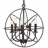 Industrielle Weinlese-Retro- hängende helle Metallkugel-Schatten-hängende Deckenleuchte-Leuchter-hängende Lampen-Beleuchtungs-Befestigung schwarzes Ende mit 5 Lichtern