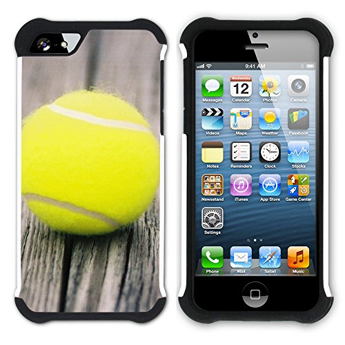Graphic4You Tennis Ball Sport Hart + Weiche Kratzfeste Hülle Case Schale Tasche Schutzhülle für Apple iPhone SE / 5 / 5S Design #1