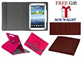 Acm Rotating 360° Leather Flip Case For Samsung Galaxy Tab 3v T116 Tablet Stand Cover Holder Dark Pink