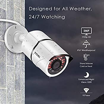 ZOSI 5MP 2K+ CCTV Camera Systems 8CH 5MP Surveillance DVR Recorder 4X 5MP 2560x1920P Outdoor Bullet CCTV Cameras 2TB Hard Drive 120ft/36m Night Vision IP67 Weatherproof Easy Remote Web/Mobile Access