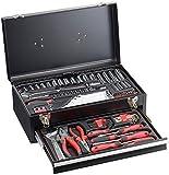 AGT Werkzeugkiste: Metall-Werkzeugkasten WZK-1337.s, 2 Fächer, 133-teilig (Werkzeugsortiment)