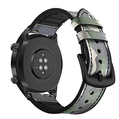 AISPORTS Ersatz-Armband für Samsung Gear S3 Frontier/Classic Band Leder Silikon Hybrid 22 mm Armband Ersatz Band für Huawei Watch GT/Honor Watch Magic/Samsung Galaxy Watch 46 mm Camouflage grün