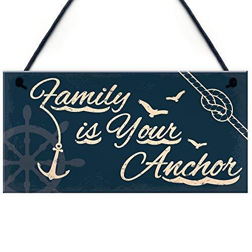 qidushop Dekoschild mit Aufschrift Seaside Family is Your Anchor Shab, zum Aufhängen, nautisches Thema, Badezimmer, Küche, Dekoration, Geschenk, Accessoire, handbemalt, Holzschild (Dekorationen Thema Nautische)